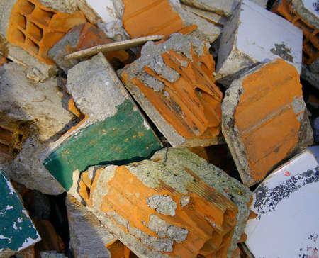 foundation cracks: Broken brick wall Stock Photo