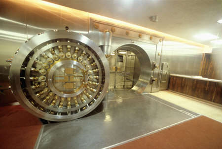 bank protection: Bank vault door showing safety and strength of the facility Stock Photo