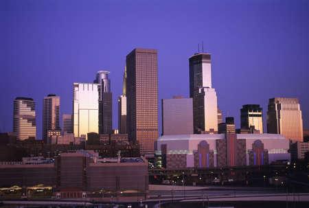Minneapolis, Minnesota Cityscape at Dusk Stock Photo