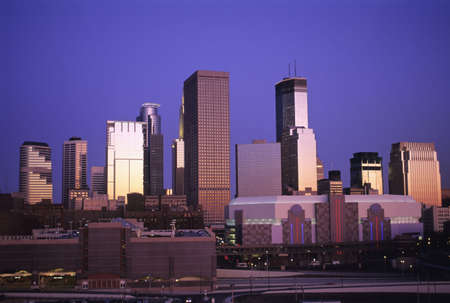 Minneapolis, Minnesota Cityscape at Dusk Stock Photo