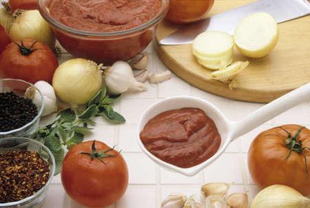 Various ingrediants for preparing pasta sauce Stock Photo - 2409494