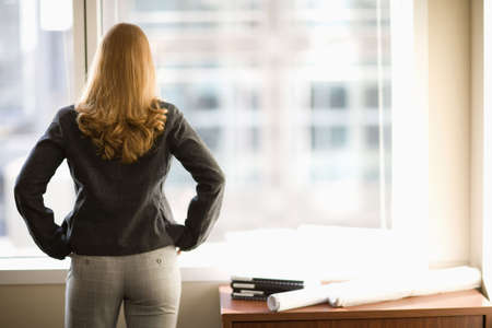 back light: Rear view of woman looking out office window