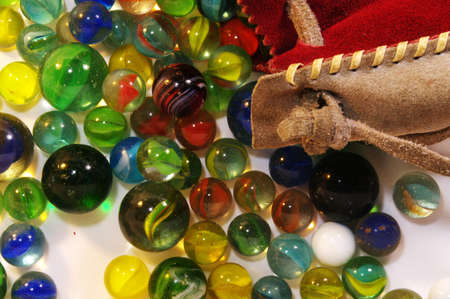 Marbles and Leather bag photo