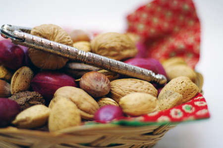 Close up Nuts and a nut cracker in a basket