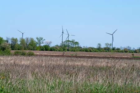 kracht: Alternatieve productie van elektriciteit door middel van windenergie Stockfoto