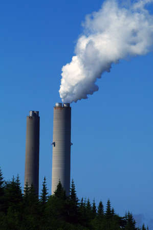 Smoke stacks at an oil fired electrical plant