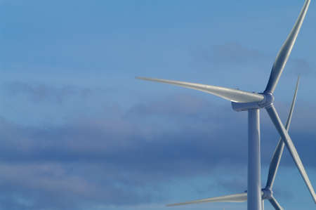Wind turbines against a winter sky photo