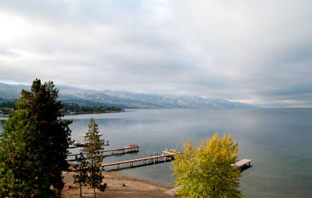 lake front: Early Morning Lake Front on Okanagan Lake Stock Photo