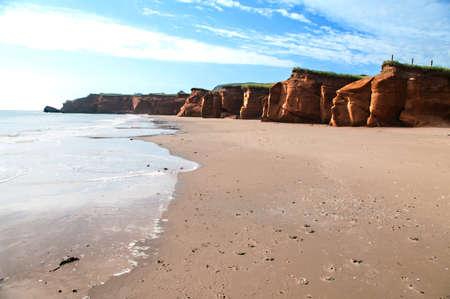 shore line: Shore line at Dune de Sud on Iles De La Madeliene Stock Photo