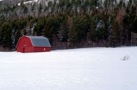 red barn: Red Barn in a snowy field
