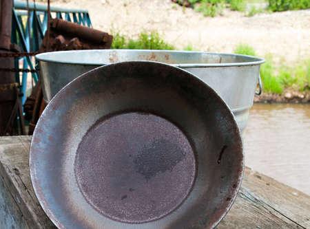 prospector: Oro panorámicos de audio Pan en un sitio de excavación de oro en Alaska Foto de archivo