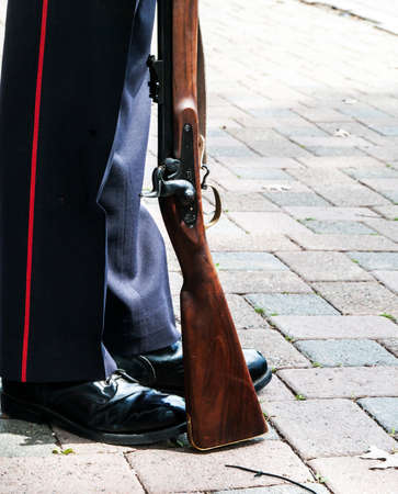 Boots of Ceremonial Guard at Officer's Square in Fredericton, New Brunswick Stock Photo - 50400448