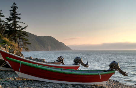 Boats on the Whistle beach on Grand Manan, New Brunswick