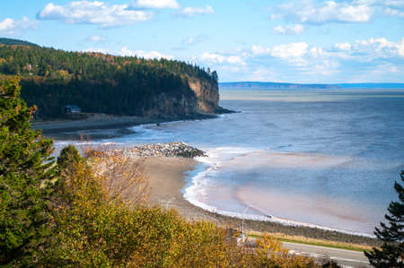 Chignecto Bay at Alma New Brunswick with the tide coming in Stock Photo