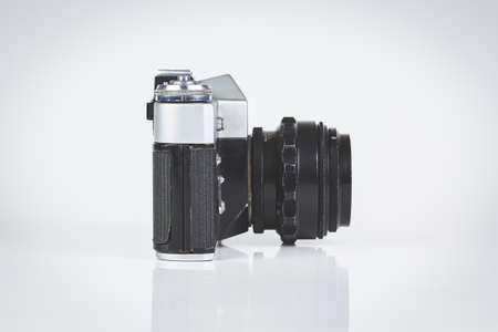 viewfinder vintage: Retro camera isolated on white side view