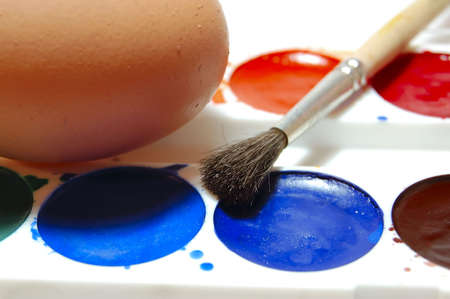 egg and easter paint, macro photo