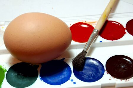 easter paints and egg macro photo