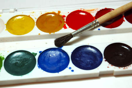 paint and brush, close-up