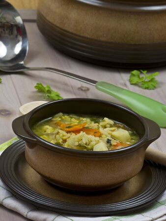 chicken soup: A cup of chicken soup Stock Photo