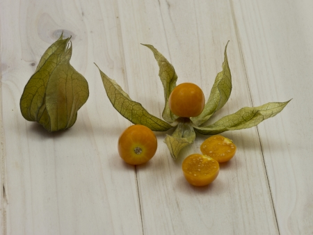 Physalis or cape gooseberry in different varia photo