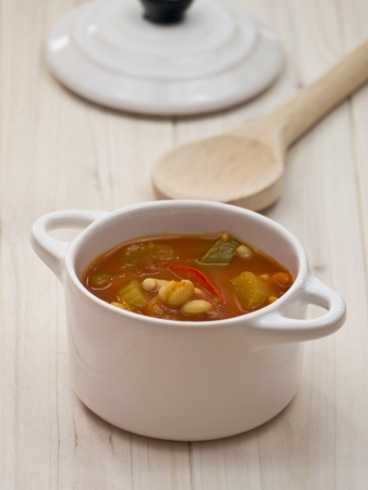 Tomato soup with haricot beans and paprika Stock Photo - 17168325