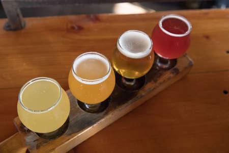 Craft Beer Tasting Flight Stockfoto