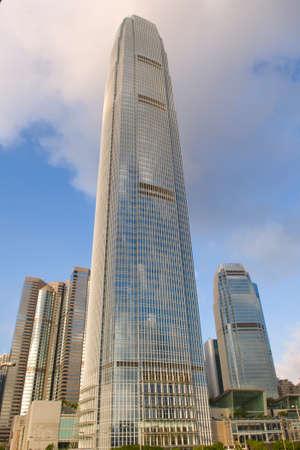 The International Finance Centre IFC Complex Hong Kong Admirlty Central Business Financial Centre Skyline Skyscraper Bank Stok Fotoğraf