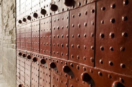 Metal Gate of Qianmen Zhengyangmen Gate of the Zenith Sun in Beijing historic city wall