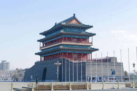 gatehouse: Qianmen Zhengyangmen Gate of the Zenith Sun in Beijing historic city wall Editorial