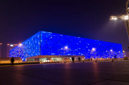 The Beijing National Aquatics Center Water Cube swimming competitions of the 2008 Summer Olympics in Beijing China