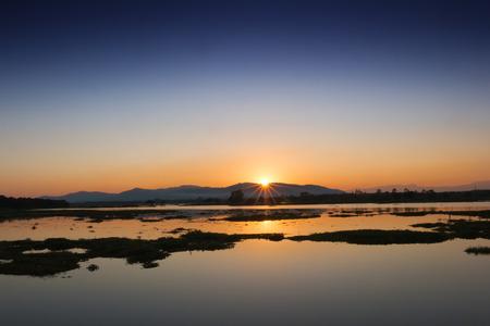 Sunset in the lake, sunset photos, evening lake photos, seascape