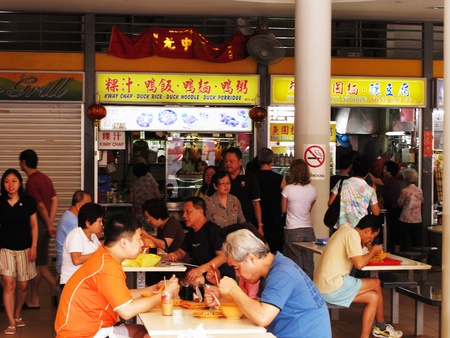 Tiong Bahru Hawker Centre in Singapore, February 26, 2011 - locals at a hawker food centre