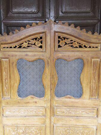 wooden door of Chinese traditional oriental design photo