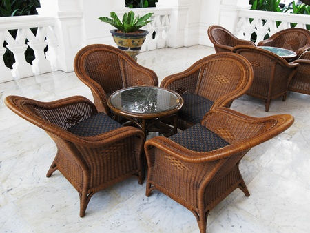 comfortable coffee table and chairs in the tropics photo