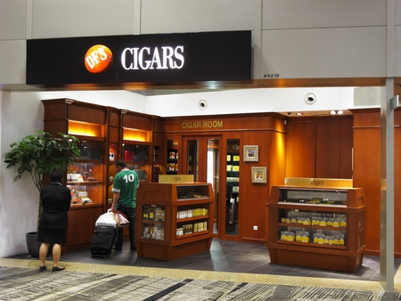 Singapore Changi Airport Terminal 3, March 3, 2011 - cigar shop Stock Photo - 9243797