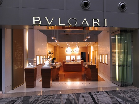 Singapore Changi Airport Terminal 3, March 3, 2011 - luxury brand Bvlgari boutique outlet