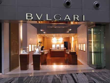 Singapore Changi Airport Terminal 3, March 3, 2011 - luxury brand Bvlgari boutique outlet Stock Photo - 9243798