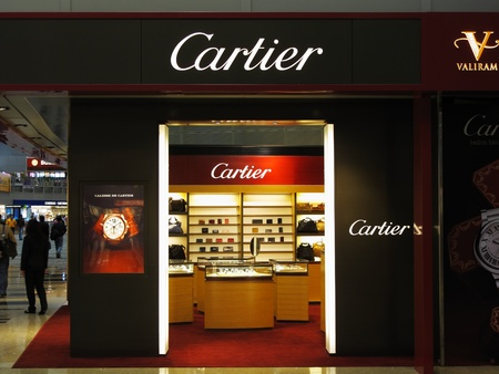 Singapore Changi Airport Terminal 3, March 3, 2011 - Cartier luxury brand Stock Photo - 9243794