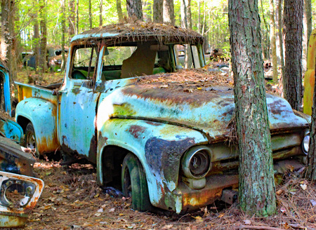 Old cars and trucks in Georgia Stock Photo