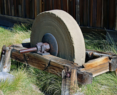 Grinding stone in Bodie, CA Stock Photo
