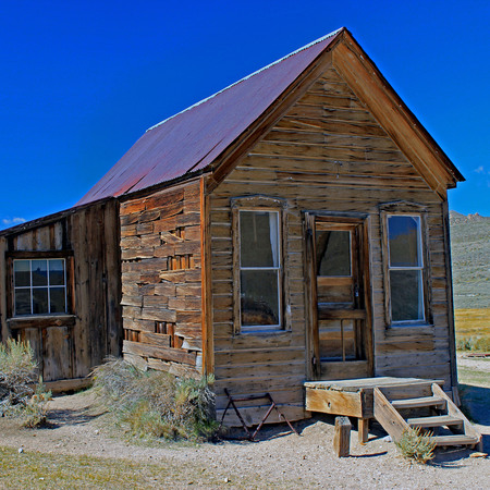 Weathered Buildings in Bodie, California Stock Photo