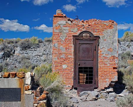 Bank vault ruins in Bodie, California Stock Photo