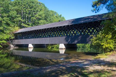 Wooden Covered Bridge at Stone Mountain Banco de Imagens