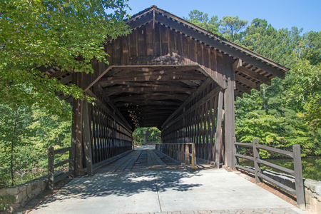 Wooden Covered Bridge at Stone Mountain Imagens