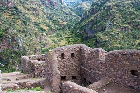 Inca Ruins in the Sacred Valley of Peru Banco de Imagens