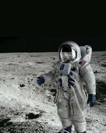 man in the moon: American Astronaut wearing a pressure suit