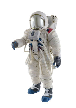 Astronaut wearing spacesuit against a white background