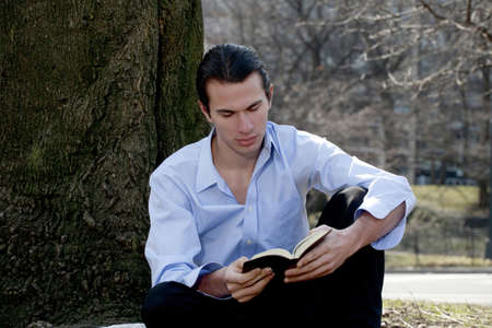 Man reading Bible.   Stock Photo