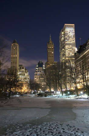 Central Park near the 59th street entrance in winter, New York City. Stock Photo