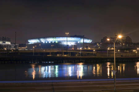Photo of the old Yankee Stadium just before it was torn down.  Photographed from Manhattan looking toward the sports complex located in the county of the Bronx, New York, USA.  Also in view is the Harlem River.  Image taken April, 2009.